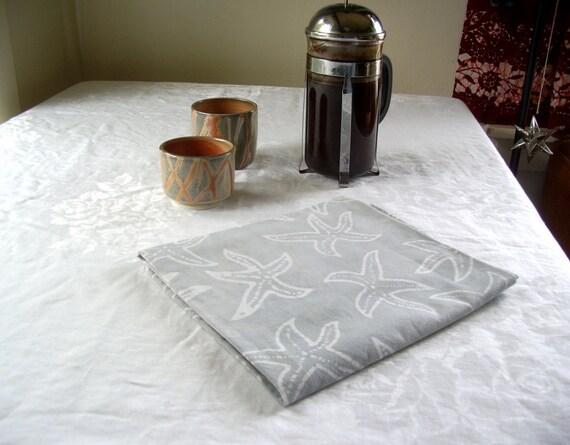mini tablecloth in pale gray sea stars