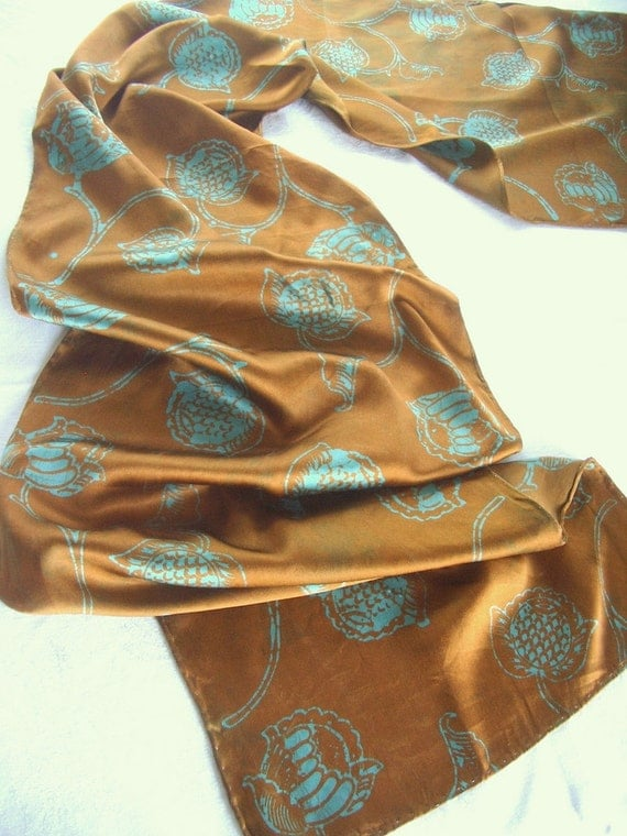 copper and turquoise silk scarf. peony print