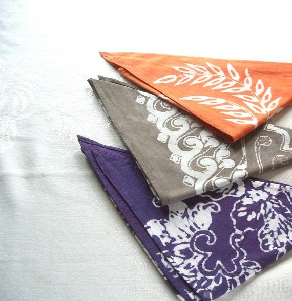 triangle bandanas. purple gray orange