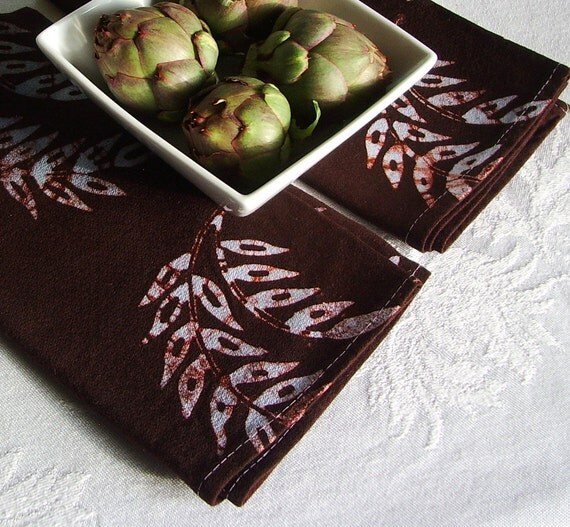 pair of dinner napkins. chocolate brown wheat