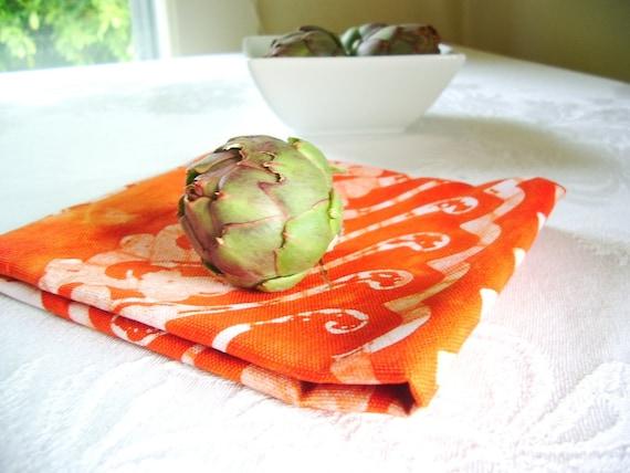 rust orange linen towel