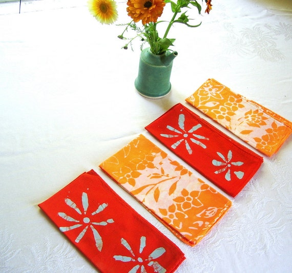 orange lunch napkins