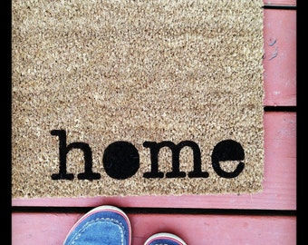 15% Off Reopening SALE Where You Hang Your Hat Doormat - 'home' Natural CoCo Fiber Modern Tagged Outdoor Recycled Welcome Mat