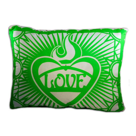 Green Papel Picado Sacred Heart Pillow