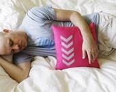 Honeysuckle Hot Pink and Gray Chevron Arrow Pillow
