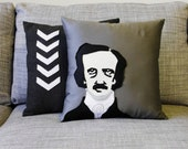 Edgar Allan Poe Decorative Pillow - On Gray Fabric