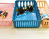 Vintage Plastic Drawer Organizers - Set of three - in Teal, Pastel Pink and Peach - Totally 1980s