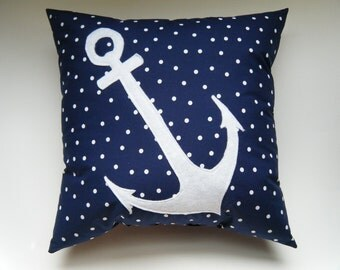 Anchor Decorative Pillow SAILOR SERIES - Navy Blue Polka Dot