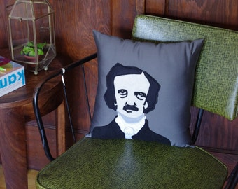 Edgar Allan Poe Decorative Pillow - Gray, Black and Beige