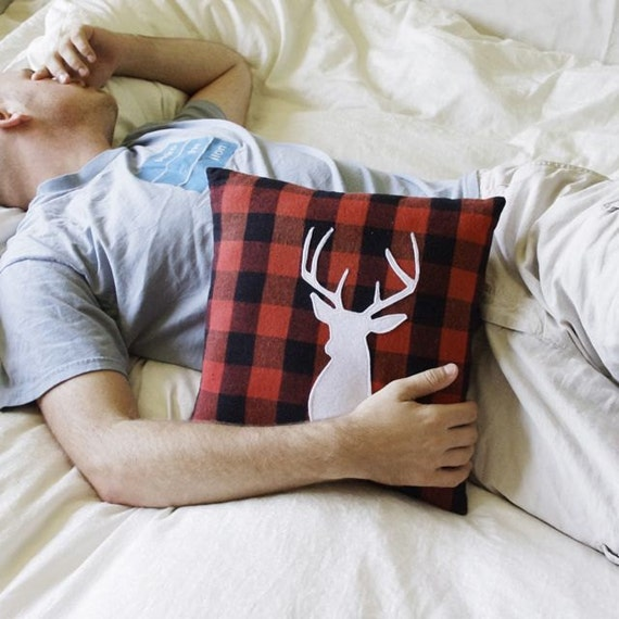 Rustic Buck head Lodge Pillow - Deer Pillow - Buffalo Check