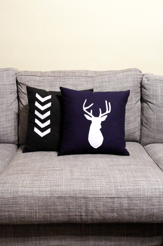 PRIVATE LISTING for SARAH! Navy Blue & White Decorative Deer Pillow Cushion - For Your Man Cave