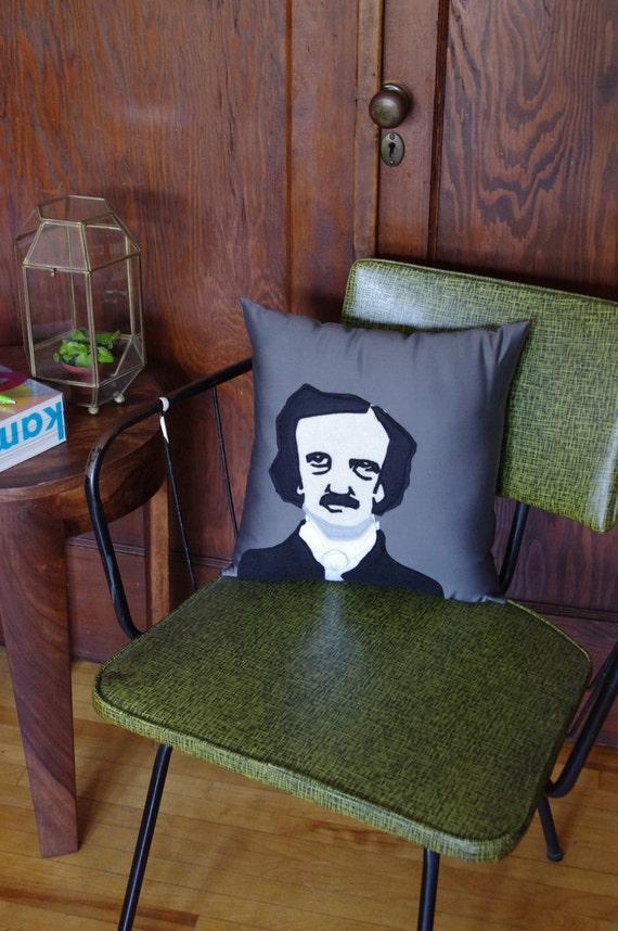 Edgar Allan Poe Decorative Pillow - Gray, Black and Beige