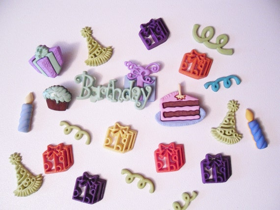 Happy Birthday embellishments buttons