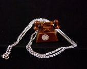 Brown Telephone Necklace Wooden Rotary Phone Charm
