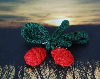 LAST ONE Retro Crocheted Cherry Brooch