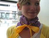 SALE: Orchid with Mustard Ribbon Victorian Crocheted Neck Cowl