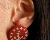 Anchor Button Earrings - SALE