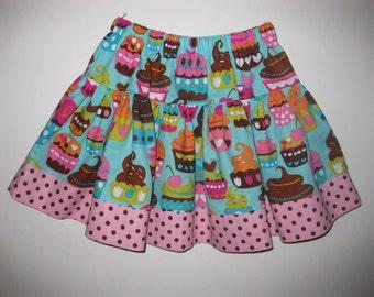 GIRLS SKIRT - Sweet Treats Frosting Cupcake Twirly Skirt - Summer Skirt - size SML