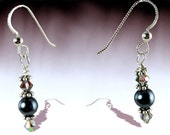 Beaded Earrings Dangle Earrings Romantic Midnight Blue