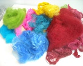 3 Ounce Grab Bag of Romney and MerinoX  Wool Dyed Fiber Carded and Non Carded    Offering Free Shipping
