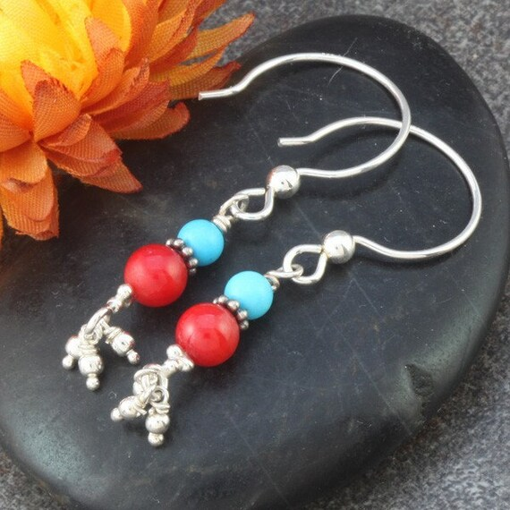 Coral, Turquoise and Sterling Silver Earrings