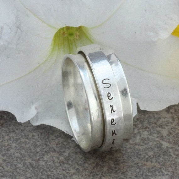 Sterling Silver Spinner Ring with Hand Stamped Inspirational Word - Serenity, Size 8