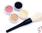 Mineral makeup sample kit foundation-eye shadow-veil-blush-bronzer-Fairly light-Light-Medium-Tan-Dark-Deep-Veil primer-Concealer