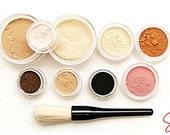 XXL Mineral makeup Full size kit foundation eye shadow set-Fairly light-Light-Medium-Tan-Dark-Deep-blush-bronzer choice-Veil