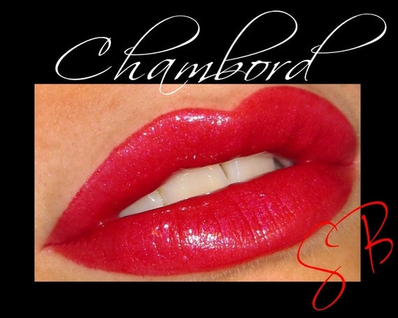 Chambord Lip Gloss (Raspberry red with pink & purple shimmer) Mineral Lacquered Up Full size wand