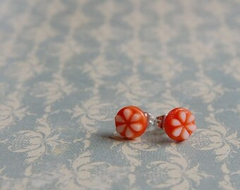 Vintage glass orange post earrings- Clementine posts.