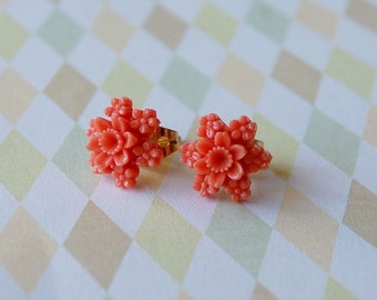 coral star bouquet posts- pink vintage flower earrings