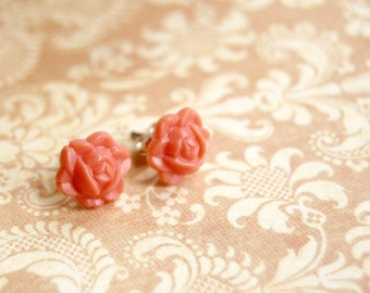 coral vintage rose post earrings- tiny roses.