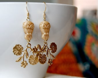 Gold owl earrings- Czech glass on brass flower branches-chandelier earrings-autumn dangles- woodland owl flowers.