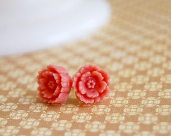 coral blossoms post earrings- pink flower