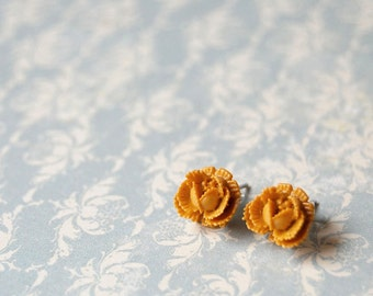 mustard yellow cabbage rose post earrings- butternut -Dijon blossoms.