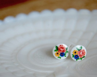 Vintage shabby chic garden bouquet post earrings