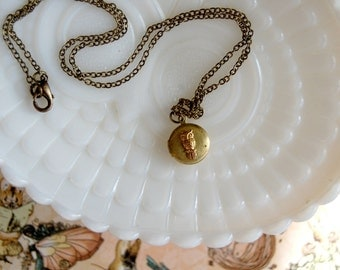 tiny hoot- small vintage brass owl locket necklace