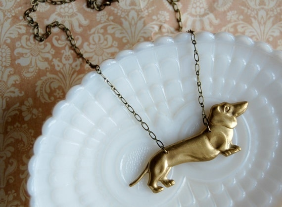 brass dachshund necklace-weiner dog love