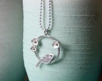 Handmade Silver Circular Lovebird Pendant