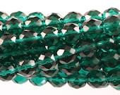 25 8mm Round Fire Polish Faceted Czech Glass Beads - Transparent Emerald Green