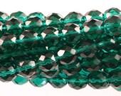 25 pc. 10mm Round Fire Polish Faceted Czech Glass Beads - Emerald Green