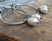 Harmony Hoops. Handmade. Oxidized & polished Sterling Silver. Pearls