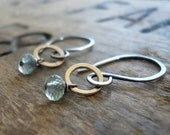 Twinkle Earrings Wonderland Collection - Aquamarine. Oxidized Sterling Silver. 14kt Goldfill dangle earrings. March Birthstone