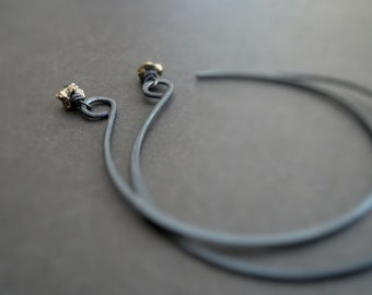 Opposition Earrings. Handmade. Pyrite. Oxidized Sterling Silver