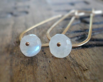 Frost Hoops Wonderland Collection - Handmade. Moonstone. 14kt Goldfill