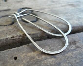 Tear Drop Hoops - Handmade. Hand Forged. Oxidized Sterling Silver Earrings