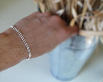 Bracelet Design Your Own Series -  2 strand Sterling Silver or 14kt Goldfill Satellite Chain