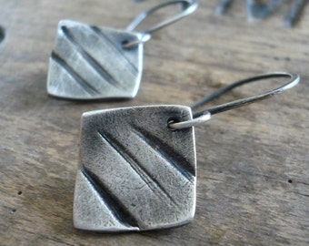 Road Less Traveled Earrings - Handmade. Oxidized fine and sterling silver