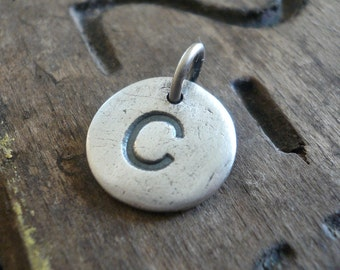 Initial Pendant Upper Case Block Font - Handmade. Personalized. Oxidized Fine Silver