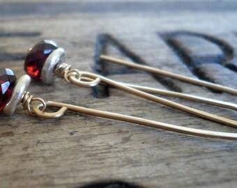 Siren Earrings - Handmade. Mixed Metal. Fine Silver &14kt Goldfill